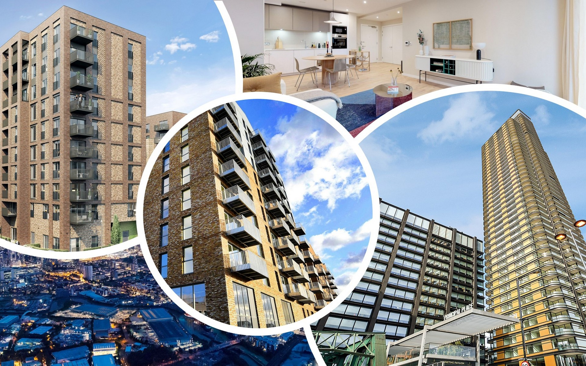 Montage of new property developments in London