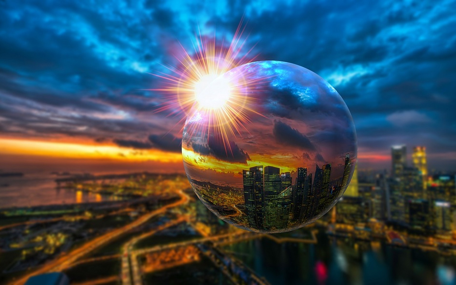 City skyline with Crystal Ball