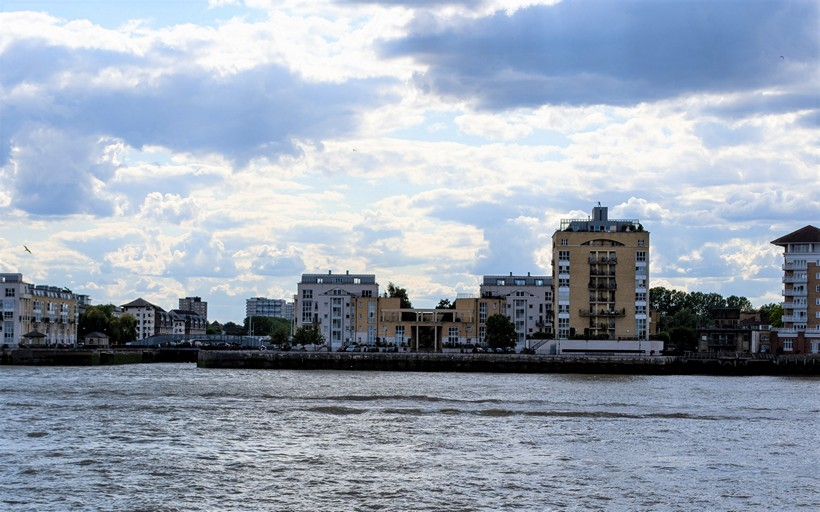 View toward Queen of Denmark Court from the opposite river bank in Canary Wharf