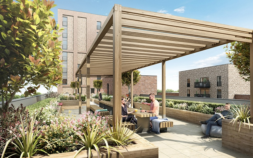 CGI of Communal Area at New Market Place E6