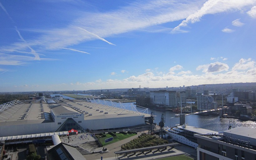 View from Royal Docks West across Royal Victoria Dock