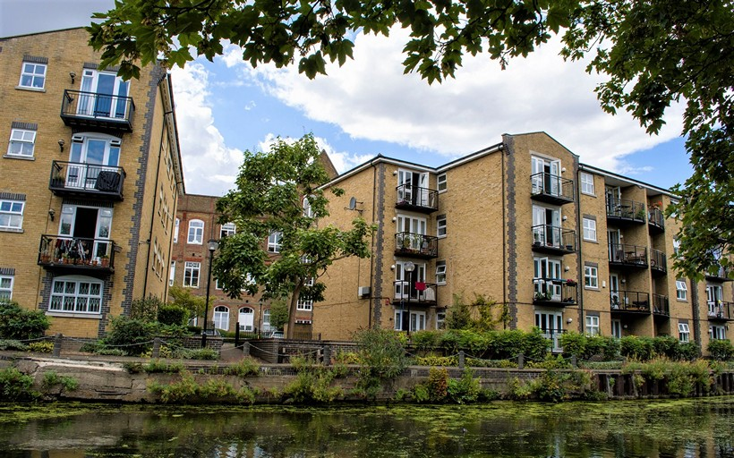 View across the Regents Canal toward Twig Folly Close apartments